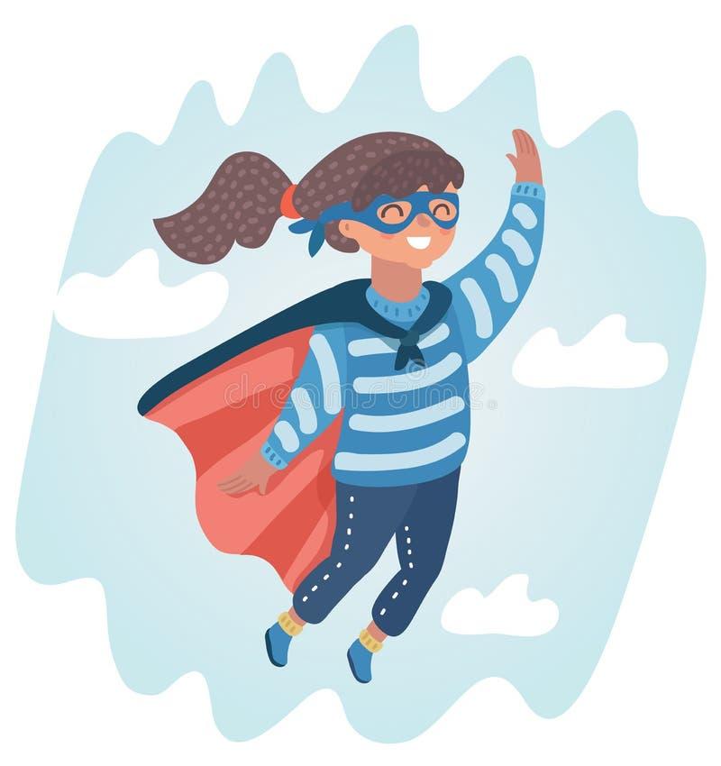Zoet babymeisje in een super heldenkostuum stock illustratie