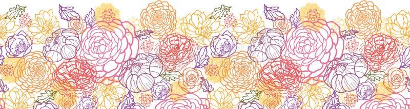 Zoet bloemen horizontaal naadloos patroon royalty-vrije illustratie