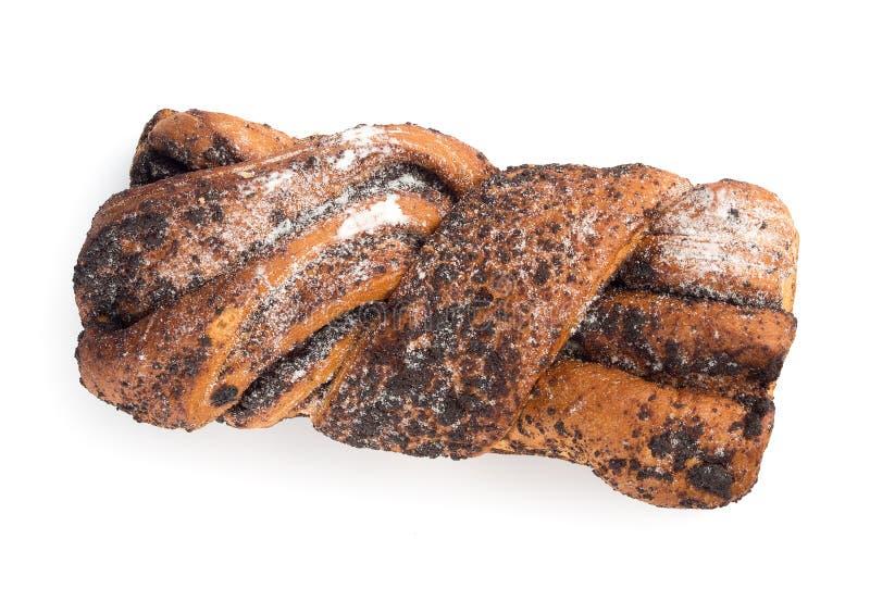 Zoet broodje dat met papaverzaden wordt gevuld royalty-vrije stock foto's