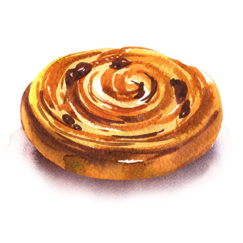 Zoet broodje met rozijnen, vers gebakken Frans eigengemaakt broodje, geïsoleerde bladerdeegbroodjes, hand getrokken waterverf stock foto's