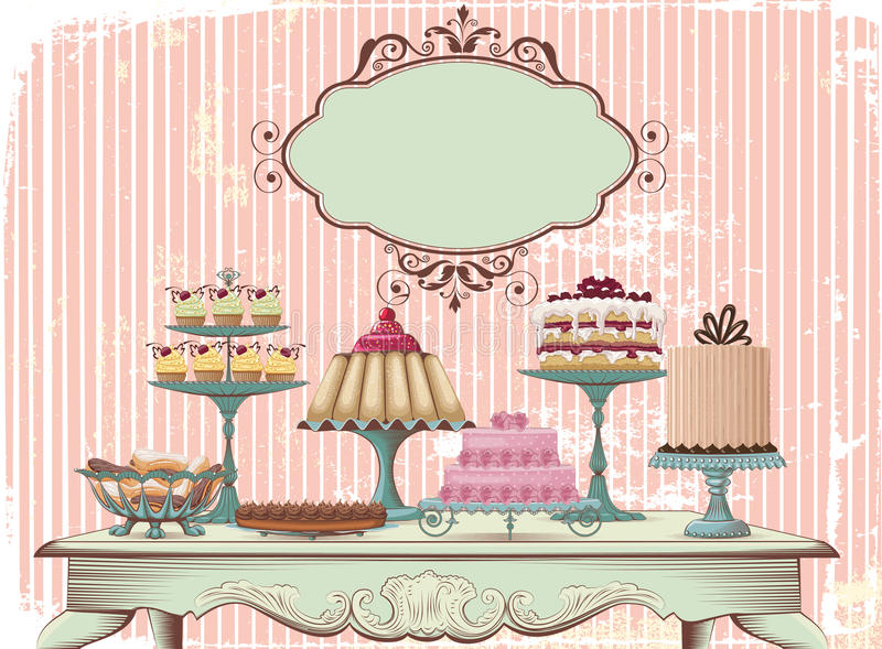 Zoet buffet stock illustratie