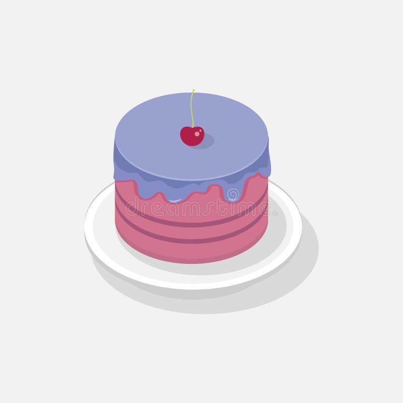 Zoet Cake isometrisch 3D pictogram stock illustratie