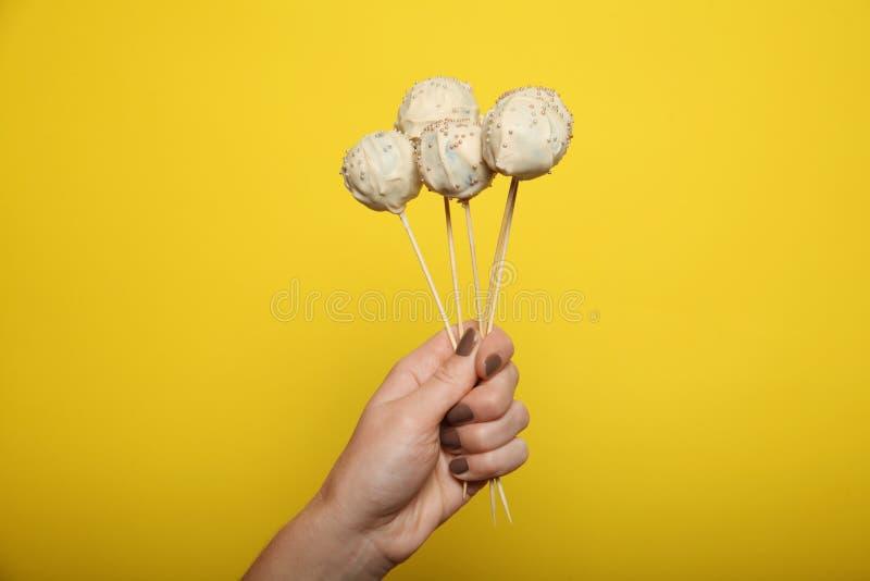 Zoet cake pop suikergoed, het dessert van de lollypartij royalty-vrije stock fotografie