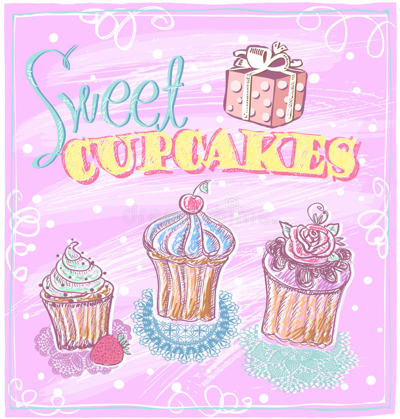 Zoet cupcakesmenu royalty-vrije illustratie