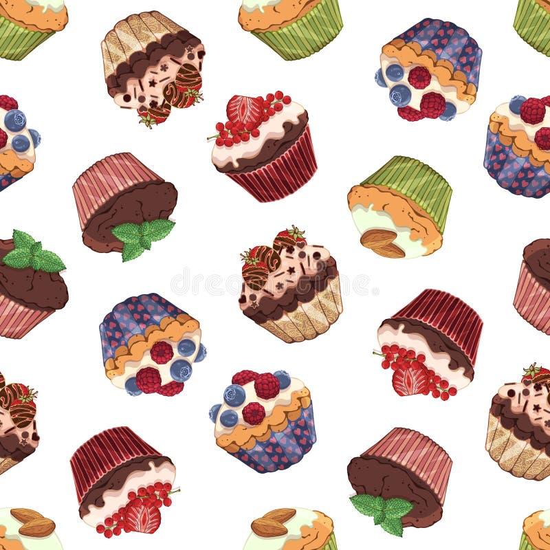 Zoet cupcakespatroon royalty-vrije illustratie