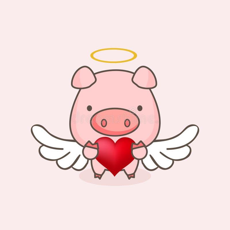Zoet Cupidovarken dat in de hemel vliegt vector illustratie