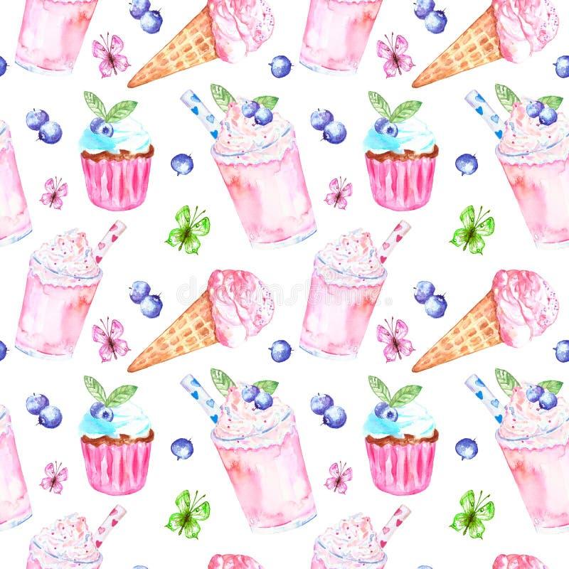 Zoet de desserts naadloos patroon van de waterverfzomer Roze achtergrond met roomijs in een kegel, melk berrie smoothie en cupcak royalty-vrije illustratie
