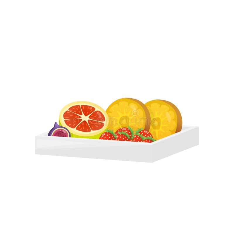 Zoet dessert in rechthoekige plastic die doos op witte achtergrond wordt geïsoleerd royalty-vrije illustratie