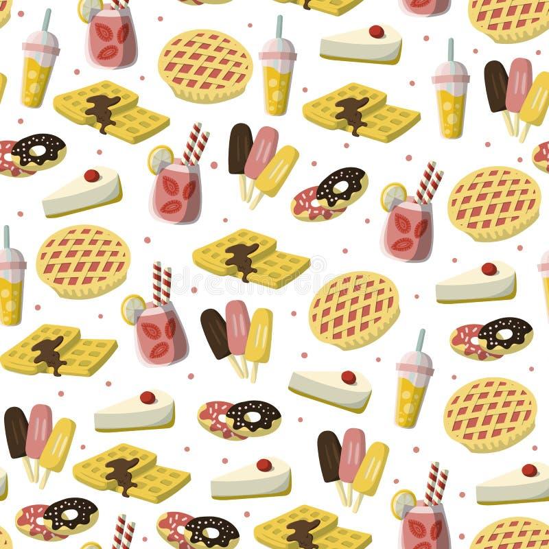 Zoet desserts naadloos patroon met appeltaart, strawberydrank, roomijs, donuts enz. De achtergrond van de beeldverhaalstijl stock illustratie