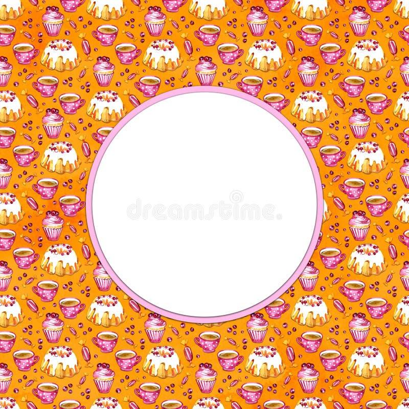 Zoet die cakes, thee en bessenkader op gele achtergrond worden geïsoleerd Ontwerp voor kaart, embleem, menu Hand getrokken waterv stock foto's
