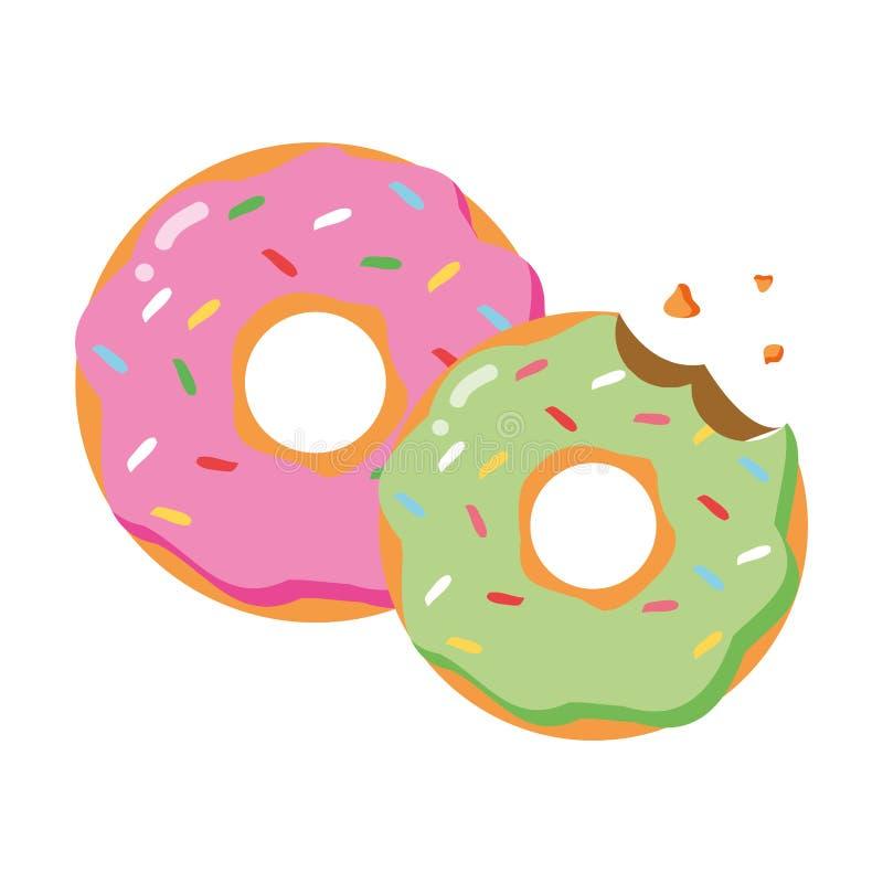 Zoet donutsvoedsel vector illustratie
