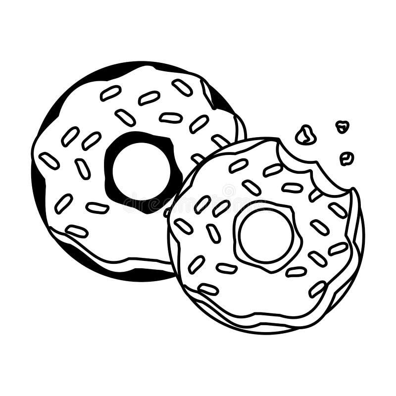 Zoet donutsvoedsel royalty-vrije illustratie