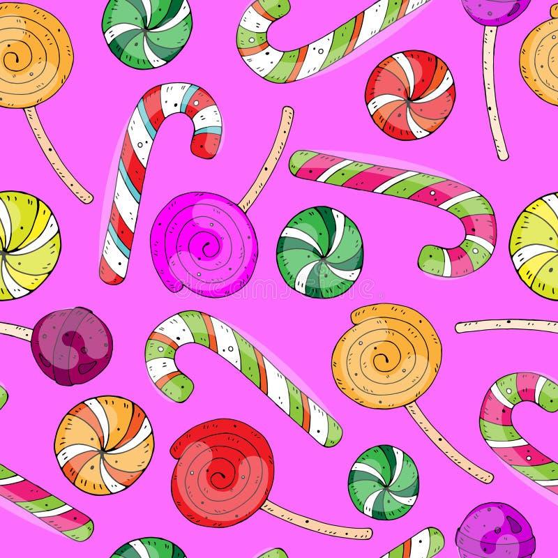 Zoet feestelijk naadloos beeldverhaal vectorpatroon met kleurensuikergoed op een neutrale achtergrond vector illustratie