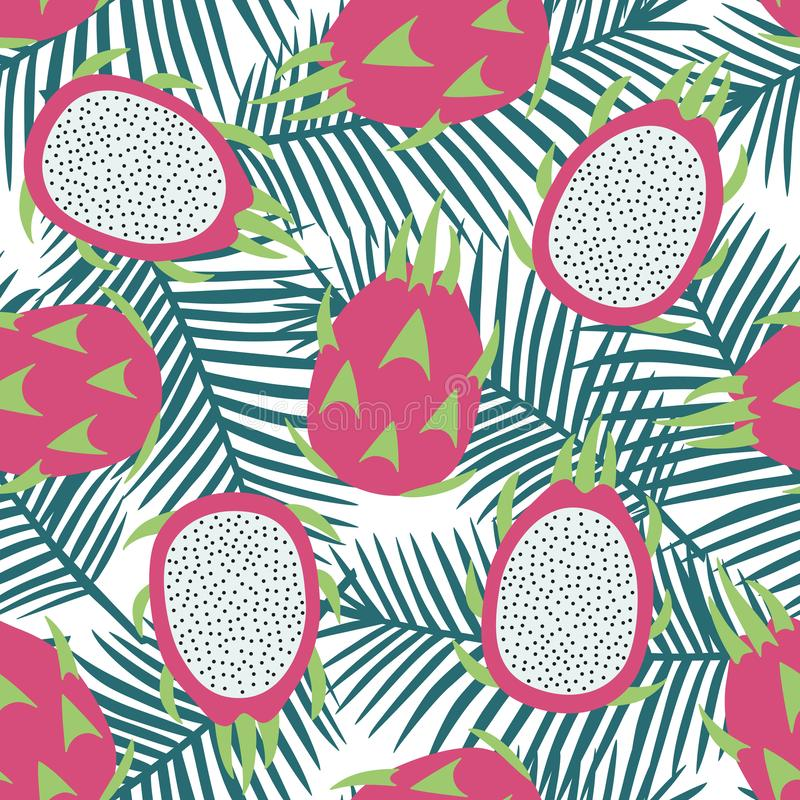 Zoet geheel draakfruit en het fruit tropisch exotisch Fr van de besnoeiingsdraak stock afbeelding