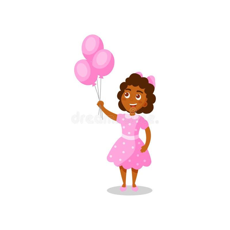Zoet gelukkig Afrikaans Amerikaans meisje met roze ballons vectorillustratie op een witte achtergrond stock illustratie