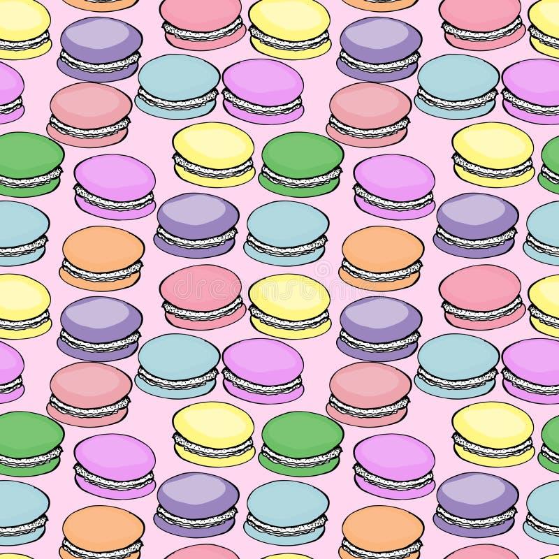 Zoet heerlijk waterverfpatroon met macarons Hand-drawn achtergrond illustratie op roze stock illustratie
