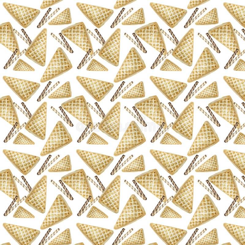 Zoet heerlijk waterverfpatroon met wafels Waterverfhand getrokken illustratie Geïsoleerde elementen op helder stock foto