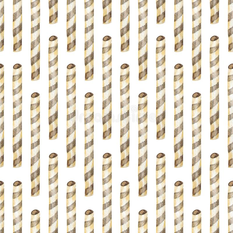 Zoet heerlijk waterverfseamlees patroon met wafels Waterverfhand getrokken illustratie stock foto's
