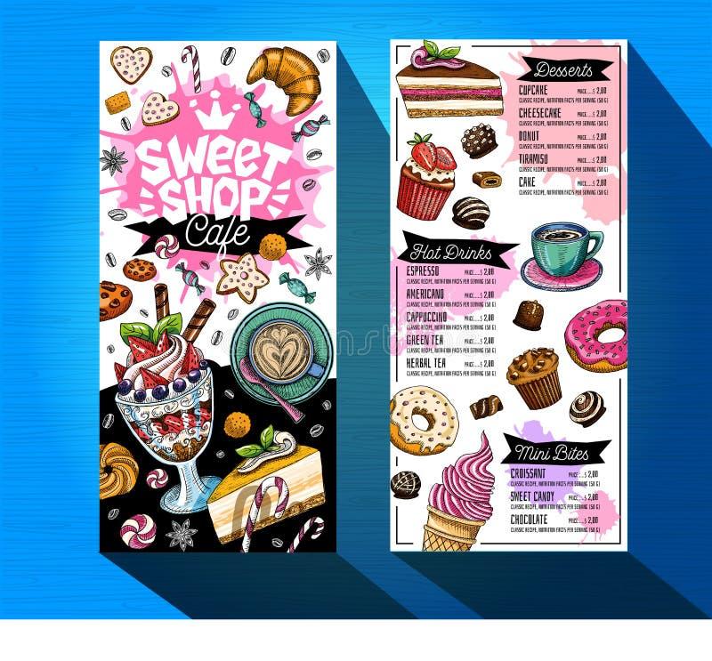 Zoet het menumalplaatje van de winkelkoffie Het kleurrijke etiket van het embleemontwerp, embleem Hand getrokken vector vector illustratie