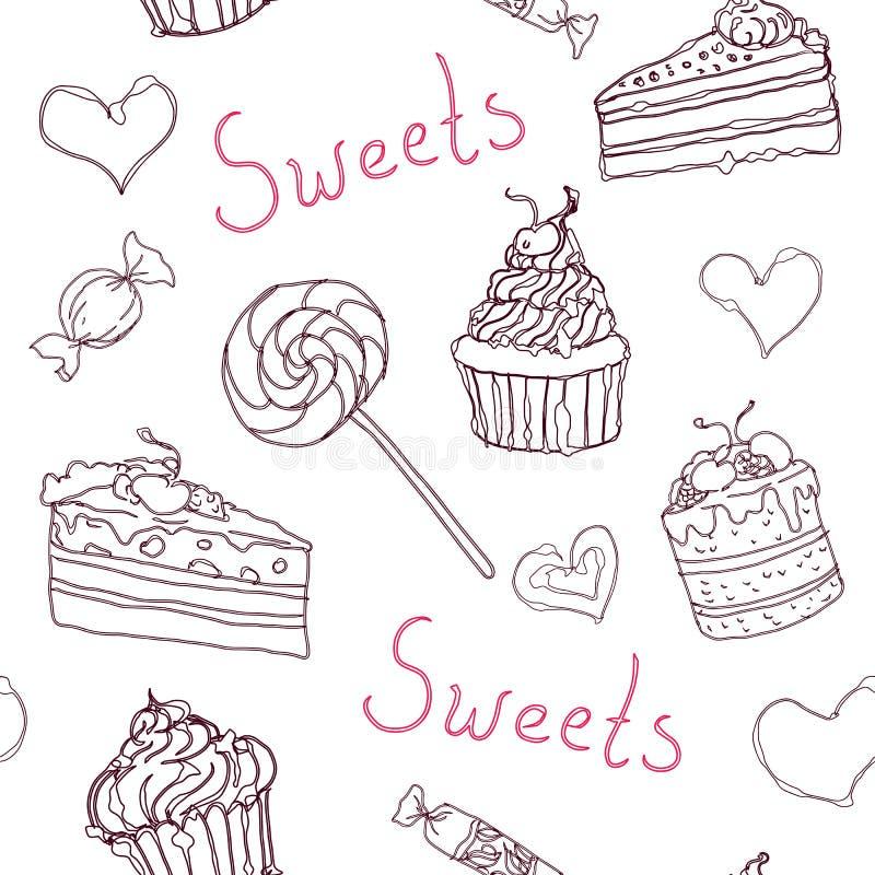 Zoet krabbelpatroon met cupcakes, cakes, suikergoed en harten Vectorhand getrokken naadloos patroon royalty-vrije illustratie