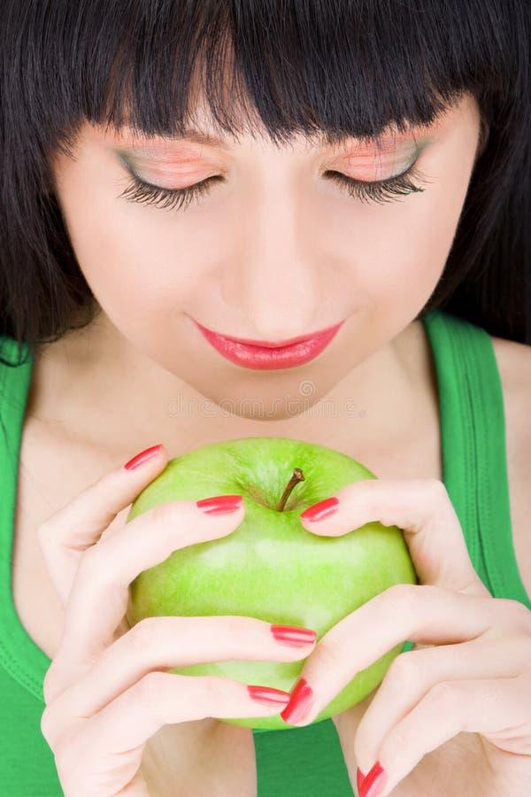 Zoet meisje met appel royalty-vrije stock foto's