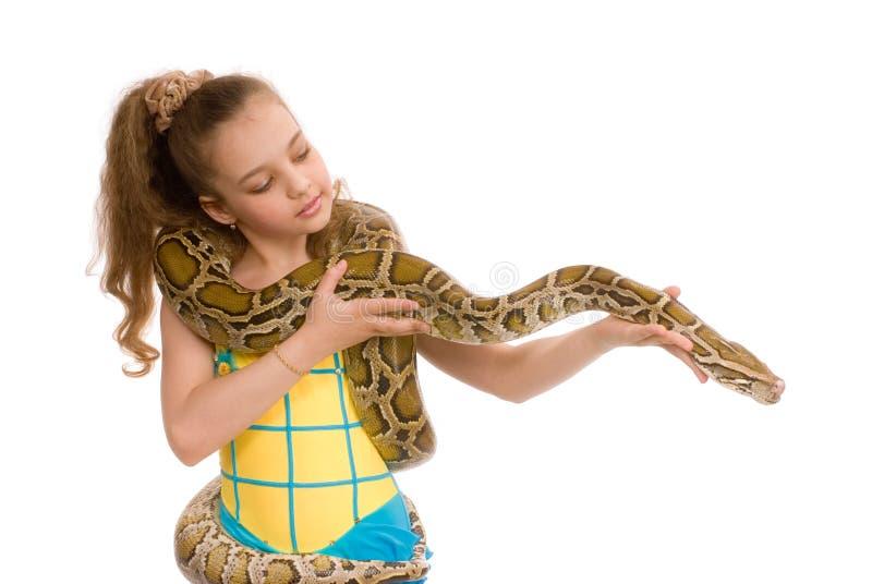 Zoet meisje met huisdierenpython royalty-vrije stock afbeelding