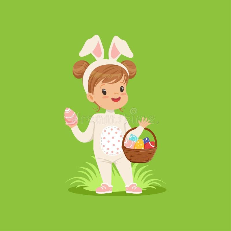 Zoet meisje met konijntjesoren en konijnkostuum die zich met mandhoogtepunt bevinden van geschilderde eieren, jong geitje die pre vector illustratie