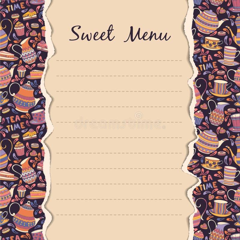 Zoet menu stock illustratie