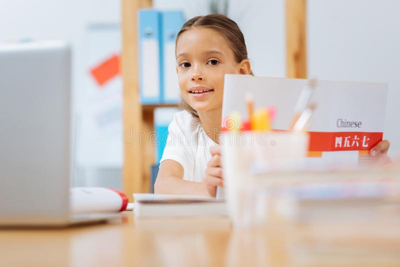 Zoet mooi schoolmeisje die lessen thuis bestuderen royalty-vrije stock afbeelding