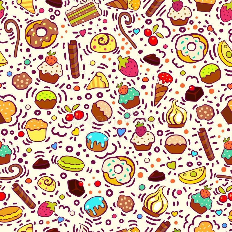 Zoet naadloos patroon met cupcakes, snoepjes, roomijs, koekjes Gebakje naadloos patroon Voor verjaardagskaart, menu, pakket, teks stock illustratie