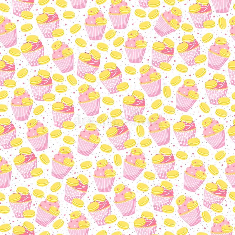Zoet naadloos patroon met desserts vector illustratie