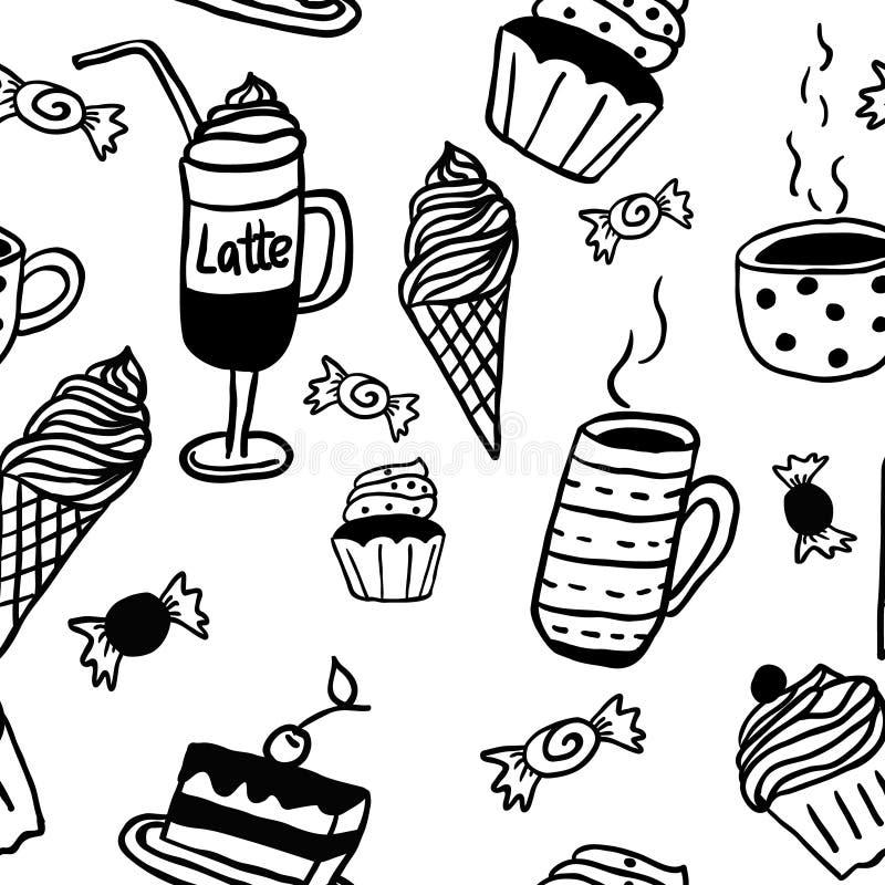 Zoet naadloos patroon met dranken en snoepjes royalty-vrije illustratie
