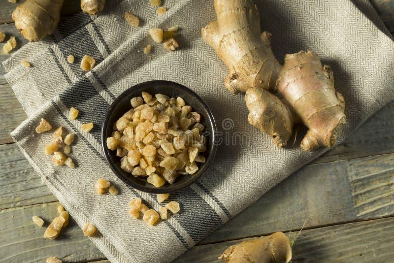 Zoet Organisch Gekristalliseerd Ginger Candy stock fotografie