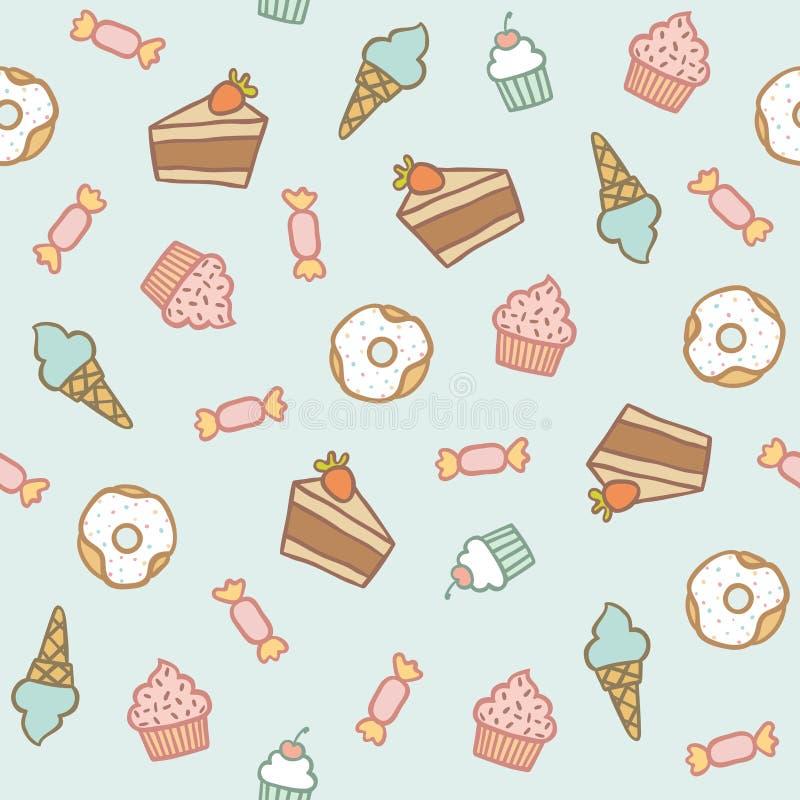 Zoet Patroon Cakes, cupcakes, suikergoed, donuts, royalty-vrije illustratie