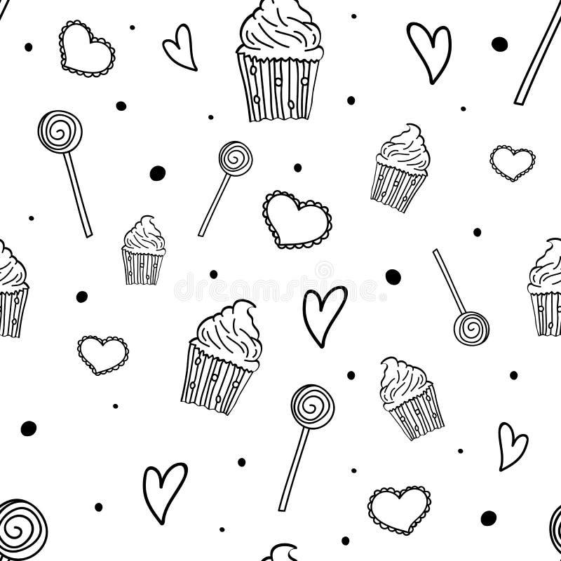 Zoet Patroon Naadloos patroon met snoepjes, cupcakes en harten Hand getrokken partijachtergrond Vector illustratie vector illustratie