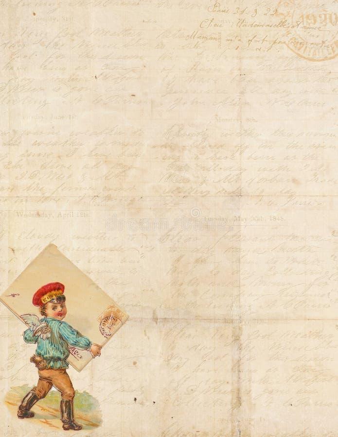 Zoet Sjofel Elegant frame met cupid die post levert stock illustratie