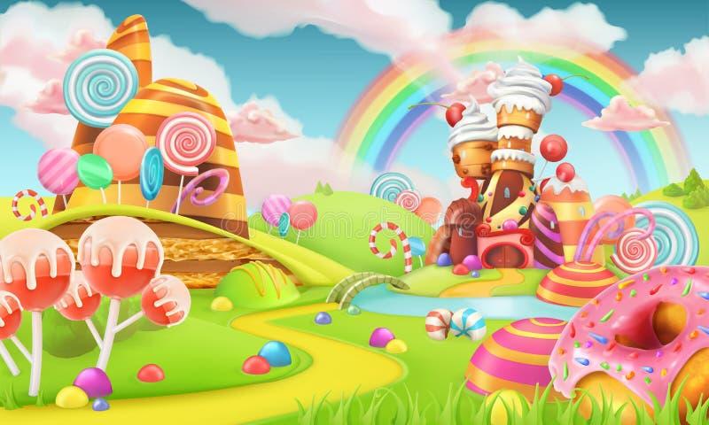 Zoet suikergoedland De Achtergrond van het beeldverhaalspel 3d vector stock illustratie