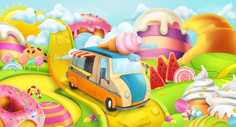 Zoet suikergoedland Roomijsvrachtwagen Het kan voor prestaties van het ontwerpwerk noodzakelijk zijn royalty-vrije illustratie
