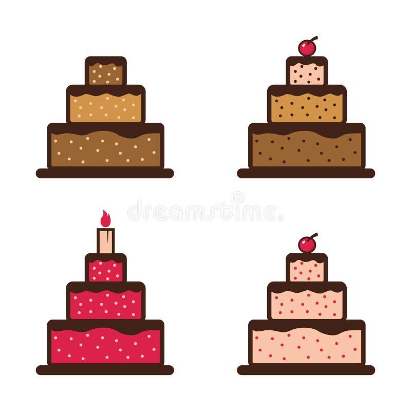 Zoet Verjaardagshuwelijk Cherry Cake Symbol Icon vector illustratie
