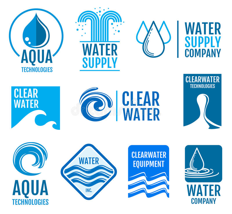Zoet water vectordieemblemen en etiketten met aquasymbolen worden geplaatst stock illustratie