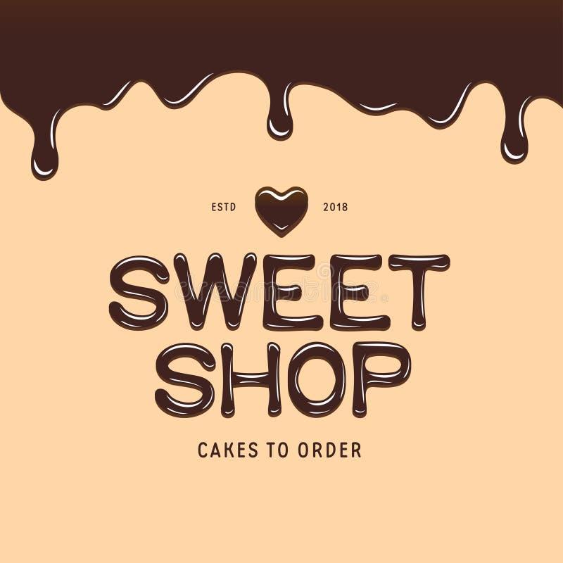 Zoet winkel logotype malplaatje De tekst van de chocoladestijl Vector illustratie vector illustratie