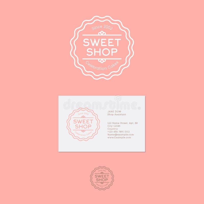 Zoet winkelembleem Het embleem van vieringscakes Uitstekend lineair embleem op een roze achtergrond stock illustratie