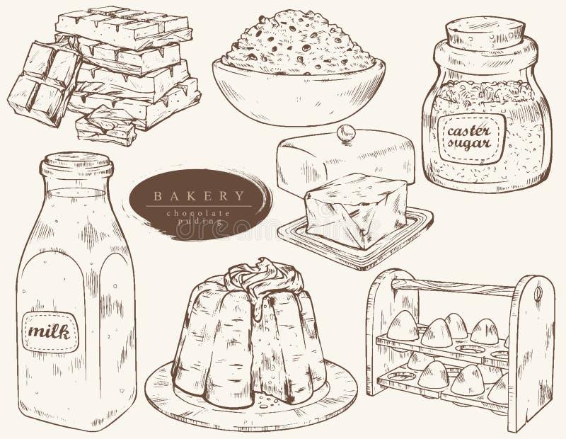 Zoete bakkerij - ingrediënten voor chocoladepudding stock illustratie