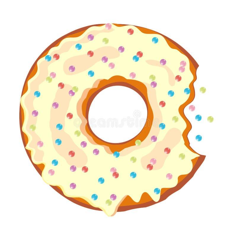 Zoete beetdoughnut Doughnut met glans op witte achtergrond wordt geïsoleerd die Vector royalty-vrije illustratie