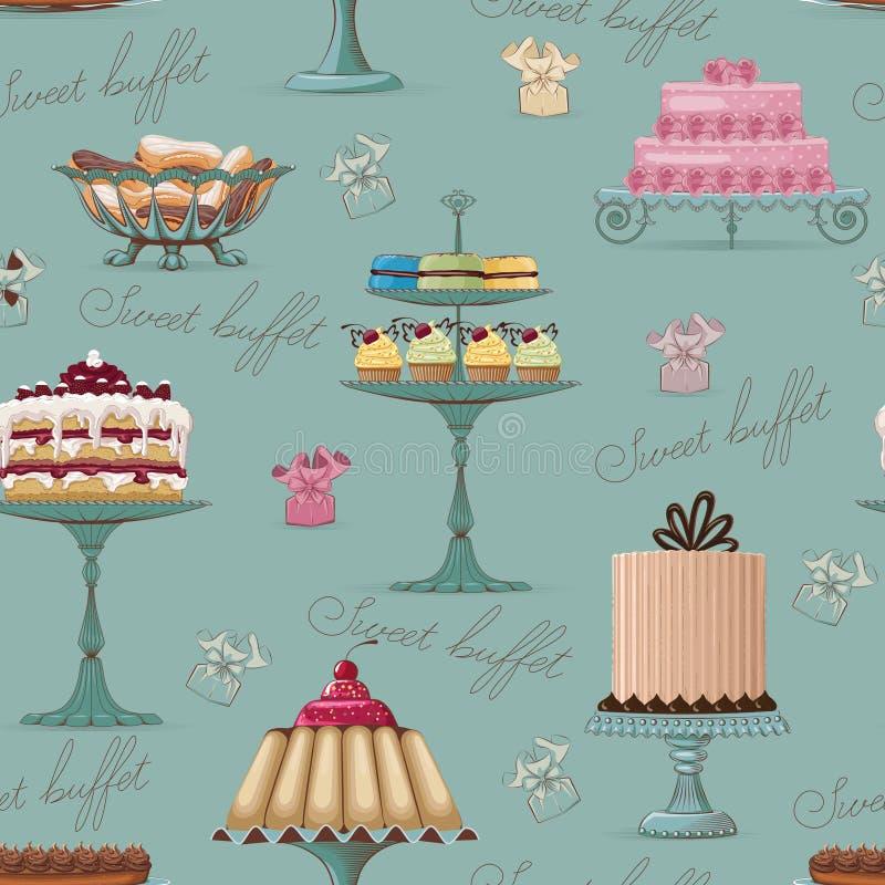 Zoete buffetachtergrond royalty-vrije illustratie