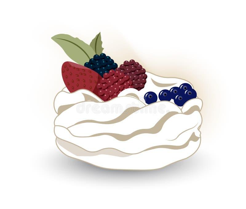 Zoete cakepavlova stock illustratie