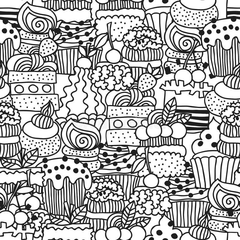 Zoete cakes, cupcakes Zwart-wit naadloos patroon met dessert voor het kleuren van boeken Vectorhand getrokken achtergrond royalty-vrije illustratie