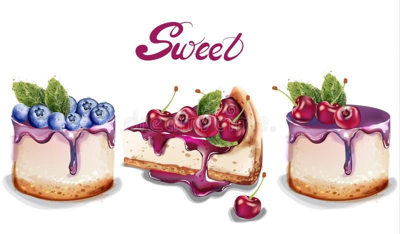 Zoete cakes geplaatst Vectorwaterverf heerlijke desserts met fruittopings royalty-vrije illustratie