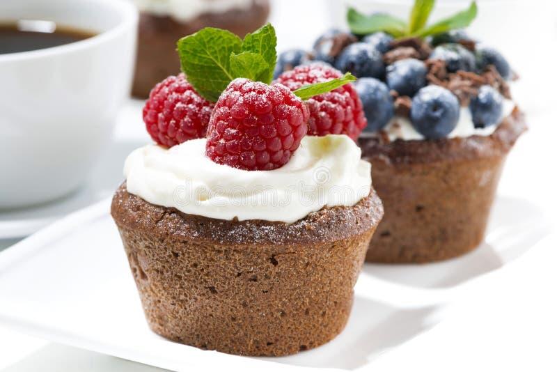 Zoete chocolade cupcakes met verse bessen voor dessert, close-up stock foto's
