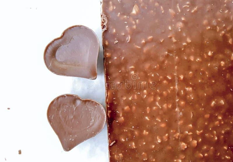 Zoete chocoladeharten stock foto's